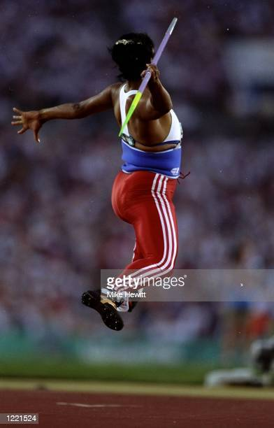 Competitor in action during the Womens Javelin Throw event of the 1996 Centennial Olympic Games at the Olympic Stadium in Atlanta, Georgia, USA. \...
