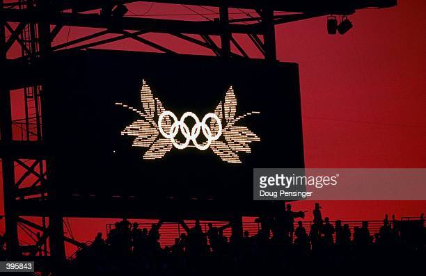 A picture of the Olympic Sign on the score board during Opening Ceremonies of the 1996 Olympic Games in the Olympic Stadium in Atlanta Georgia...