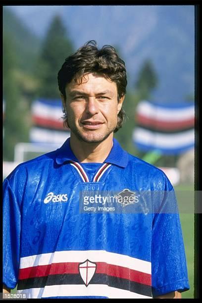 A portrait of Giovanni Invernizzi of Sampdoria football club taken during the club photocall Mandatory Credit Allsport UK