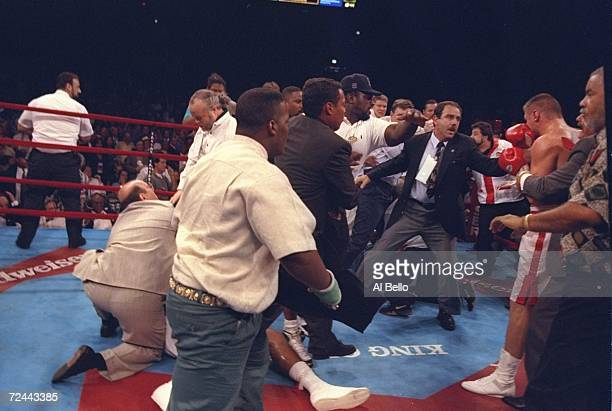 A riot breaks out in the ring following the Golota v Bowe bout moments after Bowe won the fight because Andrew Golota was disqualified in the seventh...