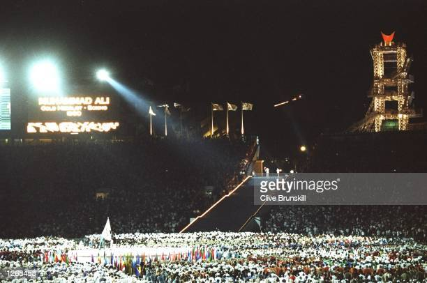 General view of the Olympic Stadium during the Opening Ceremony as Muhammad Ali of the USA lights the Olympic Flame to start the 1996 Centennial...