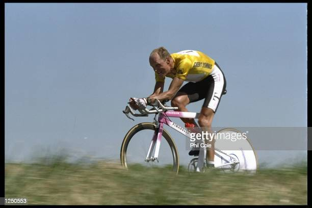 Bjarne Riis of Denmark the leader in yellow during stage 20 of the Tour De France the individuel time trial form Bordeaux to Saint Emilion Mandatory...