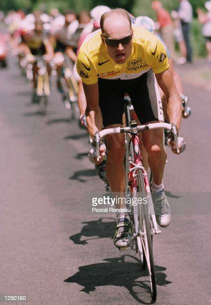 Bjarne Riis of Denmark the overall leader leads out the first break of stage fourteen of the Tour De France 186.5 kms from Besse to Tulle Mandatory...