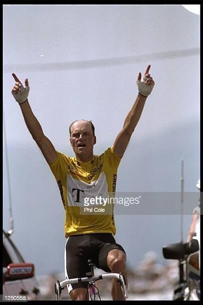 Bjarne Riis of Denmark wins stage 16 of the Tour De France from Agen Lourdes to Hautacam by 50 seconds. Mandatory Credit: Phil Cole/Allsport UK