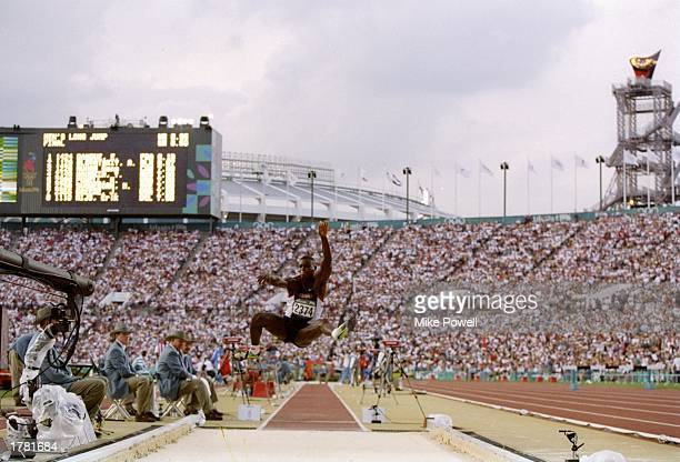 Carl Lewis of USA in action during the men''s long jump competition at Olympic Stadium during the 1996 Centennial Olympics in Atlanta Georgia Lewis...