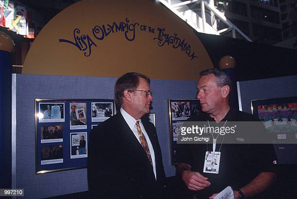 Dick Pound of the International Olympic Committee visits the CNN Center/Visa and Centennial Club during the 1996 Centennial Olympic Games in Atlanta...