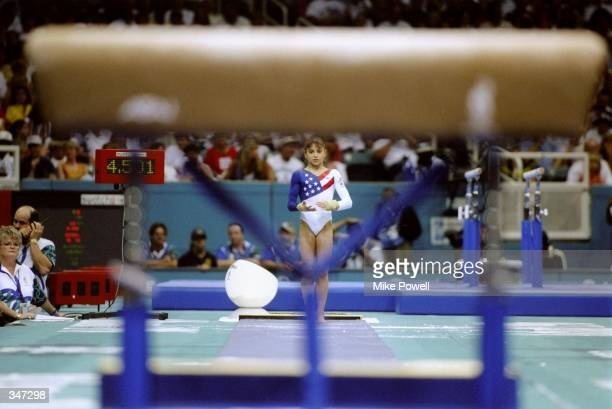 Dominique Moceanu of the United States looks on during a gymnastics event at the Olympic Games in Atlanta Georgia Mandatory Credit Mike Powell...