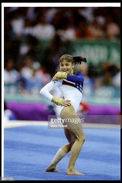 Dominique Moceanu of the United States performs during the Olympic Games in Atlanta Georgia