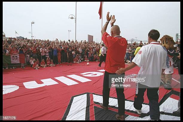 Fabrizio Ravanelli of Italy signs for Middlesbrough and is greeted by the home crowd at Riverside Stadium in Middlesbrough. Mandatory Credit:...