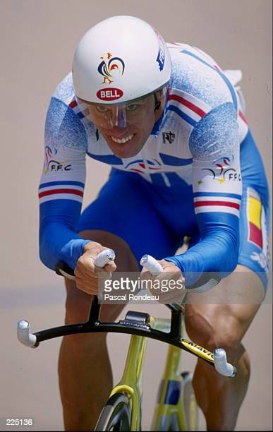 Florian Rousseau of france wins gold in the mens 1 kilometre time trial at the 1996 Centennial Olympic Games in Atlanta Georgia Mandatory Credit...