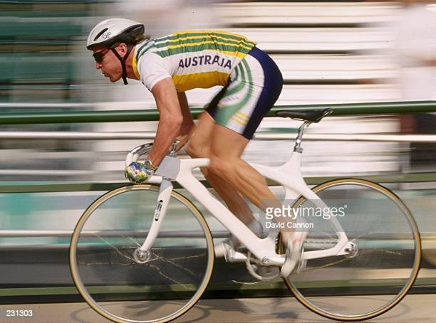 Gary Neiwand of Australia in action during the mens individual pursuit qualifiers at the Stone Mountain Velodrome at the 1996 Centennial Olympic...