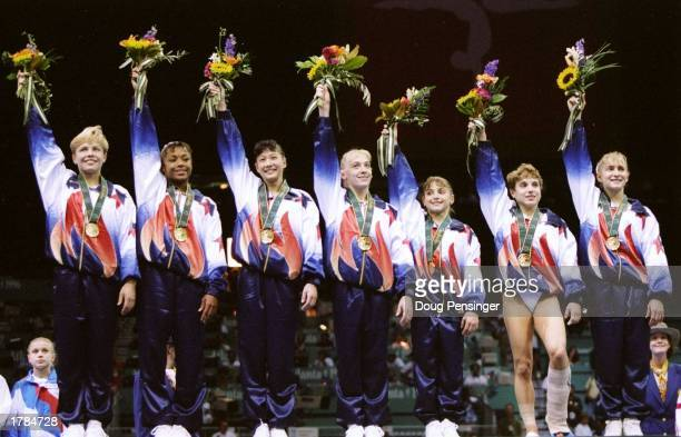General view of the United States women''s gymnastics team after winning the gold medal in team optionals at the Summer Olympics in the Georgia Dome...