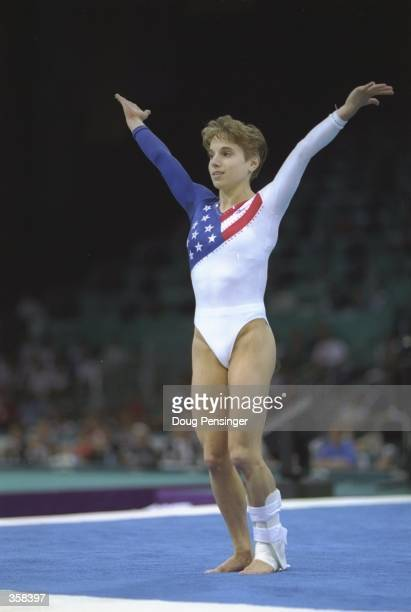 Kerri Strug of the USA in action in the floor excercise during the gymnastics exhibition competition at the Georgia Dome during the 1996 Centennial...
