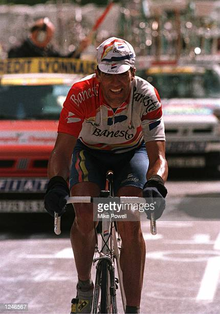Miguel Indurain of Spain and team Benesto during the final kilometers of the climb into Les Arcs during stage seven of the Tour De France,199kms from...