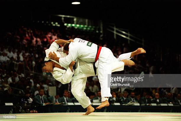 Olympic Games in Atlanta, Georgia. World Congress Centre. Heavyweight Judo. David Douillet 1st. Eernesto Perezi 2nd. Mandatory Credit: Clive...