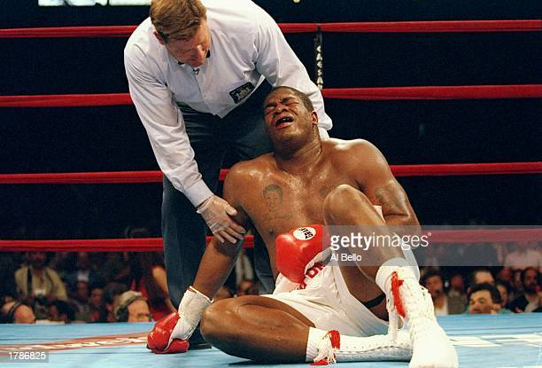 Riddick Bowe is on the canvas and being attended to by referee Wayne Kelly after being stopped with a low blow by Andrew Golota that ended their...