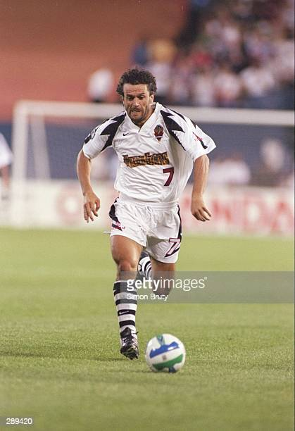 Roberto Donadoni of the New York/New Jersey MetroStars dribbles up field during the MetroStars 3-2 loss to the Dallas Burn at Giants Stadium in East...