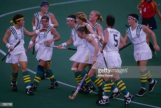 The Australian team celebrates a goal during the Australia v Spain women''s field hockey at Morris Brown College during the Centennial Olympic Games...