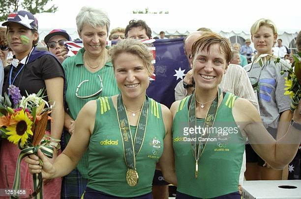 The Australian women's coxless pair Megan Still and Kate Slatter win gold on Lake Lanier at the 1996 Olympic Games in Atlanta Georgia. \ Mandatory...