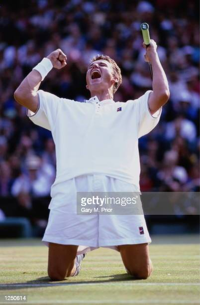The moment of victory for Richard Krajicek of the Netherlands after defeating Malivai Washington of the USA in straight sets to become mens singles...