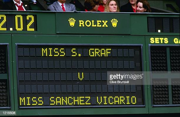 The Scoreboard during the match between Graf and Sanchez Vicario at the Lawn Tennis Championships at Wimbledon in London Mandatory Credit Clive...