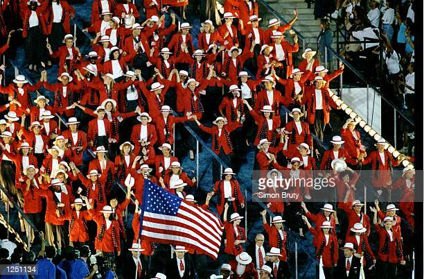 The team from the USA enter the Olympic Stadium during the Opening Ceremony of the 1996 Olympic Games in Atlanta Georgia Mandatory Credit Simon Bruty...