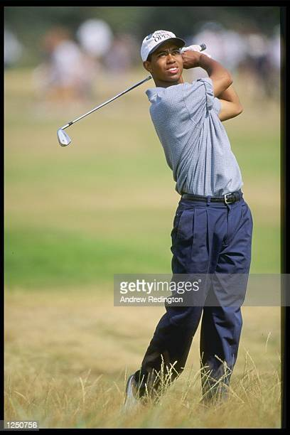 Tiger woods of the USA winner of the silver medal after finishing two under par during the Open Championship at the Royal Lytham and St Annes Golf...
