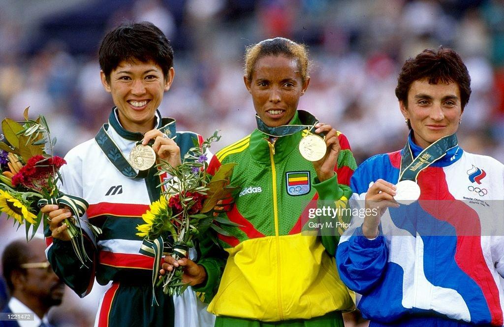 Yuko Arimori, Fatuma Roba and Valentina Yegorova : ニュース写真