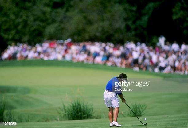 Alison Nicholas plays a shot on the 6th hole during the US Women''s Open at the Pumpkin Ridge Golf Club in North Plains Oregon Mandatory Credit Craig...