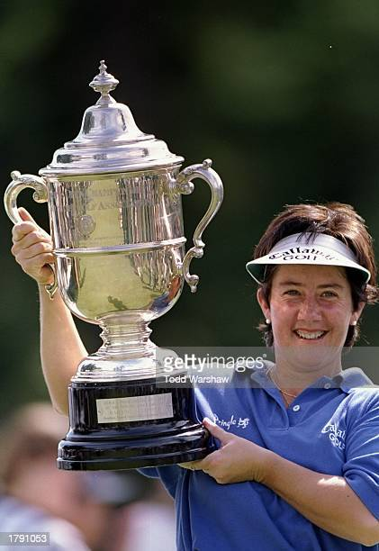 Alison Nicholas proudly holds up her trophy for the U.S. Women''s Open at the Pumpkin Ridge Golf Course in North Plains, Oregon. Mandatory Credit:...