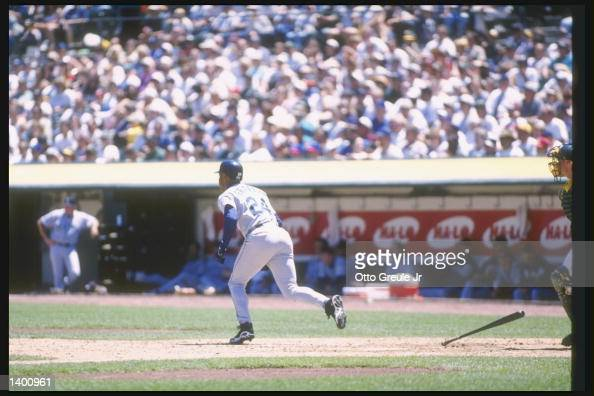 fbaf31637e Center fielder Ken Griffey Jr. of the Seattle Mariners runs to first...  News Photo - Getty Images