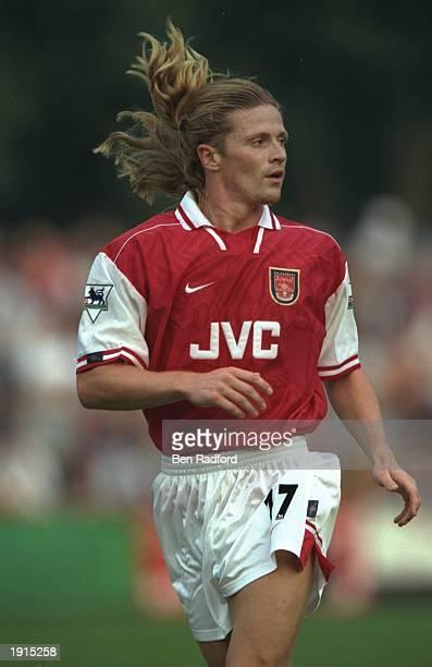 Emmanuel Petit of Arsenal in action during the preseason friendly against St Albans in St Albans England Mandatory Credit Ben Radford /Allsport