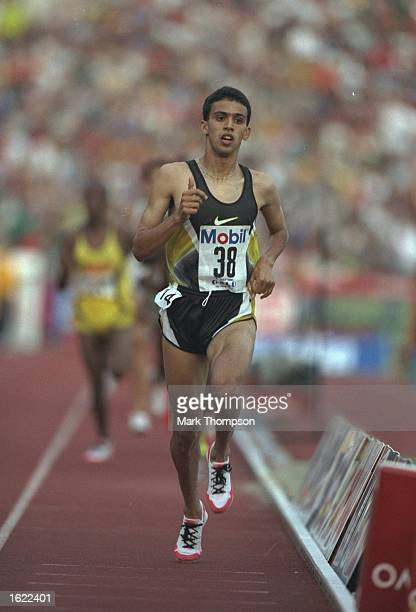 Hicham El Guerrouj of Morocco in action during the Dream Mile event at the IAAF Grand Prix Series Bislett Games in Oslo, Norway. El Guerrouj won in a...