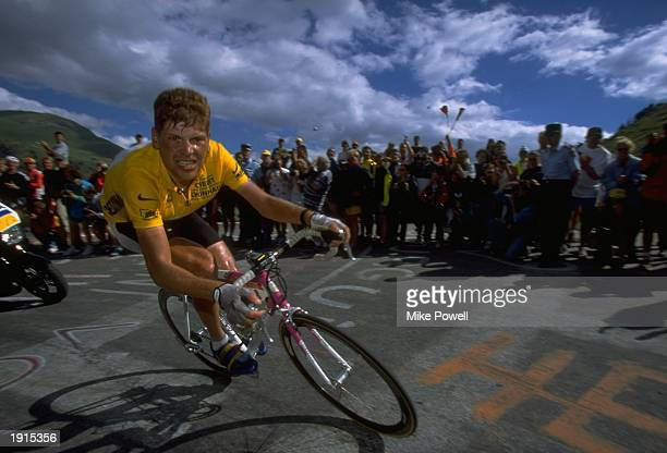 Jan Ullrich of Germany and team Telekom in action during Stage 13 of the Tour de France between St Etienne and L''Alpe d''Huez Ullrich finished...