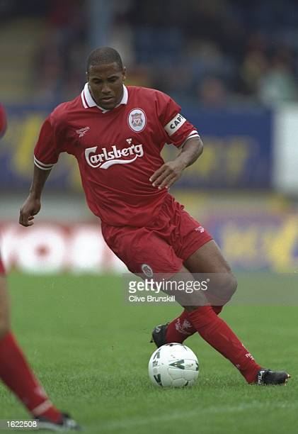 John Barnes of Liverpool in action during the pre-season friendly match against Linfield at Linfield, Ireland. \ Mandatory Credit: Clive Brunskill...