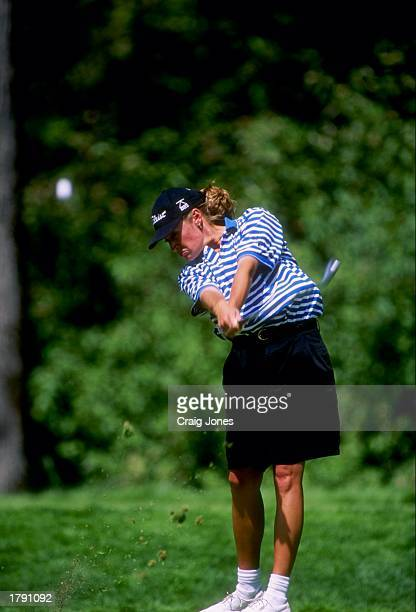 Kelly Robbins strikes a chip shot during the U.S. Women''s Open at the Pumpkin Ridge Golf Club in North Plains, Oregon. Mandatory Credit: Craig Jones...