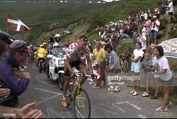 Laurent Brochard of France and team Festina in action during Stage Nine of the Tour de France between Pau and Loudenvielle. Brochard won the stage in...