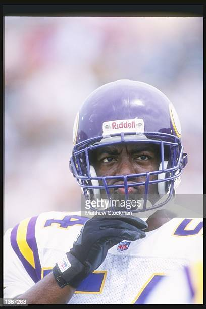 Linebacker Greg Briggs of the Minnesota Vikings looks on during the Hall of Fame game against the Seattle Seahawks at Fawcett Stadium in Canton Ohio...