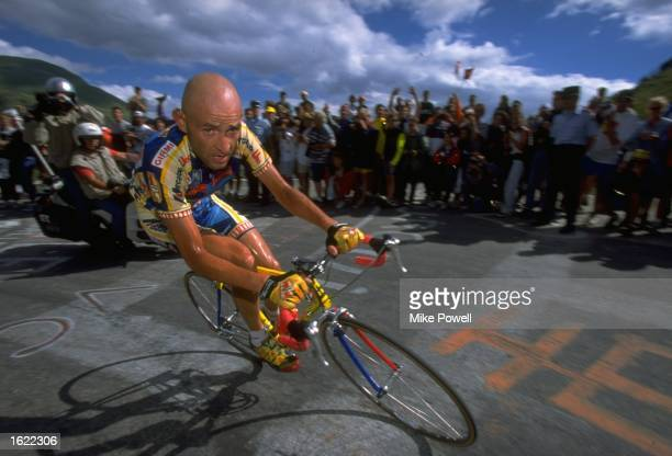 Marco Pantani of Italy and team Mercatone Uno in action during Stage 13 of the Tour de France between St Etienne and L''Alpe d''Huez. Pantani won the...