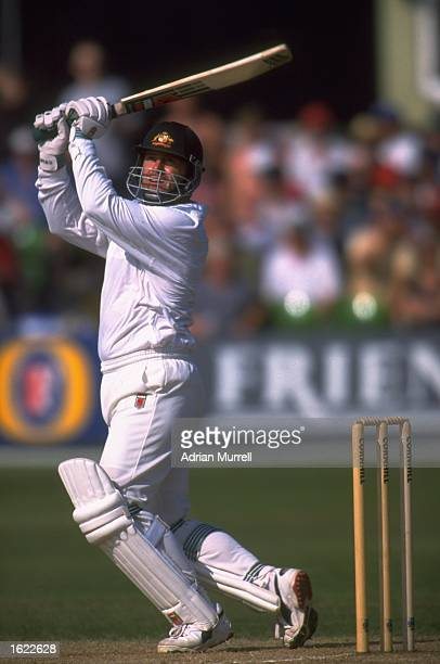 Mark Taylor the Australian captain plays a shot during the Fifth Ashes Test Match against England at Trent Bridge in Nottingham England Australia won...