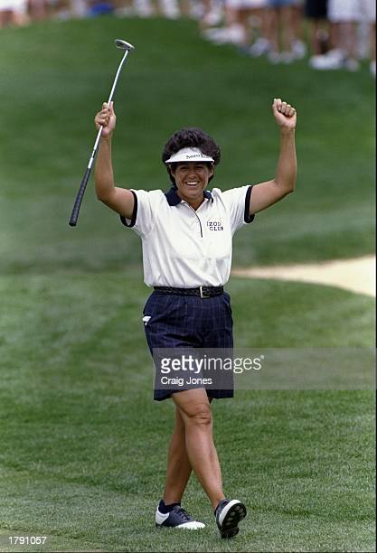 Nancy Lopez cheers for her eagle on the 4th hole during the US Women''s Open at the Pumkin Ridge Golf Course in North Plains Oregon Mandatory Credit...
