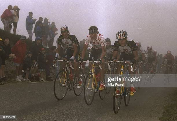 Richard Virenque and Laurent Brochard of France, and Joona Laukka of Finland in action during Stage Nine of the Tour de France between Pau and...