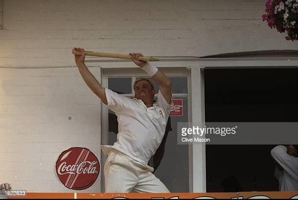 Shane Warne of Australia celebrates victory over England in the Fifth Ashes Test Match at Trent Bridge in Nottingham England Australia won the match...