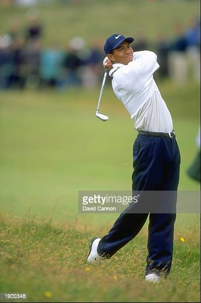 Tiger Woods of the USA plays out of light rough during the British Open at the Royal Troon Golf Club in Scotland Mandatory Credit David...