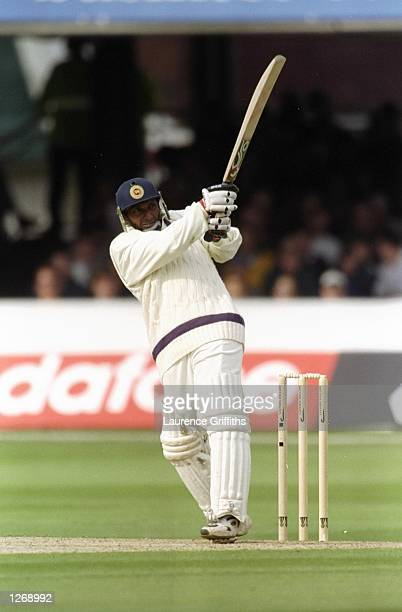 Aravinda De Silva of the Rest of the World XI in action during the Princess of Wales Memorial Match against Marylebone Cricket Club at Lord's in...
