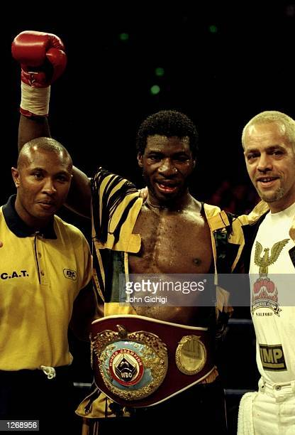 Carl Thompson of Great Britain celebrates his victory over Chris Eubank also of Great Britain after their WBO Cruiserweight bout in Sheffield England...