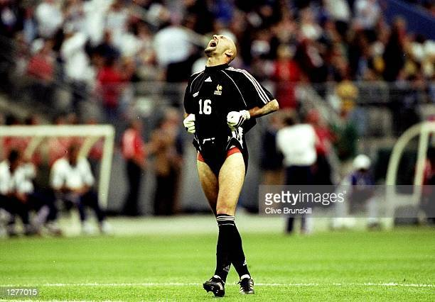 Fabien Barthez of France celebrates during the World Cup Final against Brazil at the Stade de France in St Denis France won 30 Mandatory Credit Clive...