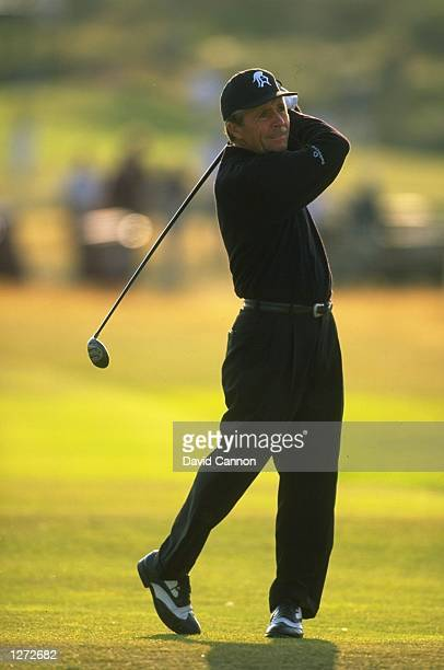 Gary Player of South Africa drives down the fairway during the British Open at Royal Birkdale Golf Club in Lancashire England Mandatory Credit David...