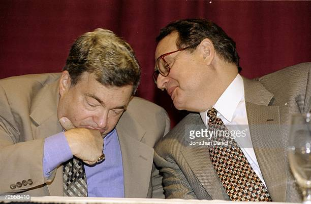 General Manager Jerry Krause with Owner Jerry Reinsdorf at the Chicago Bulls Press Conference at the United Center in Chicago Illinois FOR EDITORIAL...