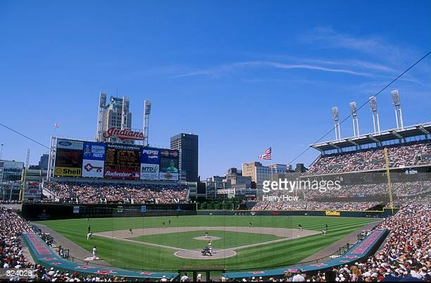 General view of a game between the Minnesota Twins and the Cleveland Indians at Jacobs Field in Cleveland Ohio The Twins defeated the Indians 116...